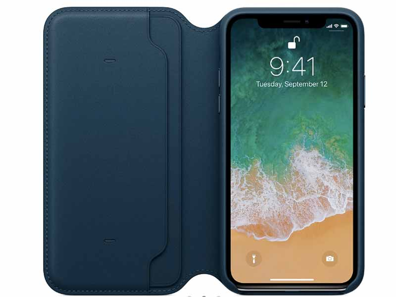 Leather folio case for iPhone X by Apple, available at Mall of the Emirates