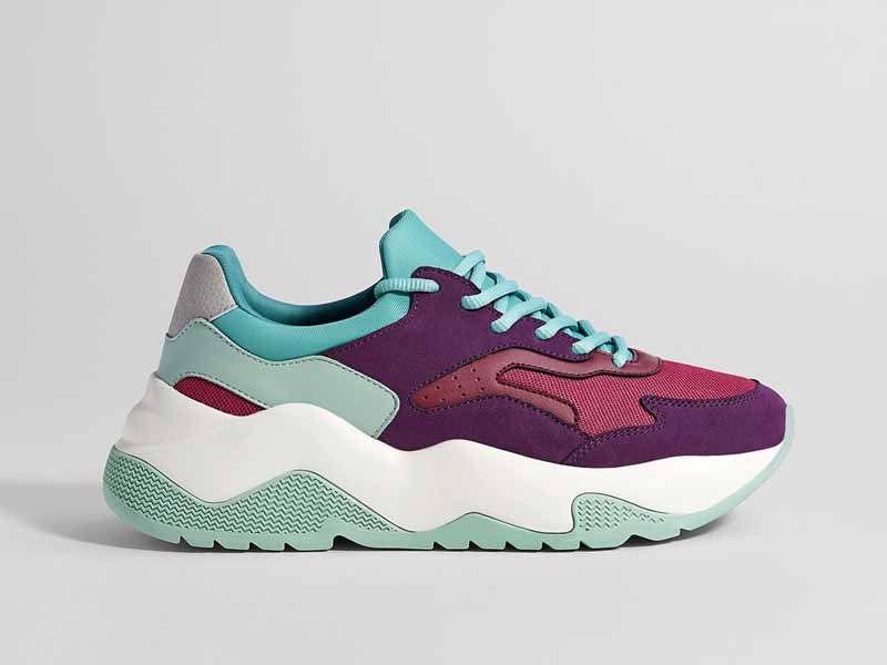 Multi-colour trainers by Bershka, available at Mall of the Emirates and Mall of Egypt, plus City Centres
