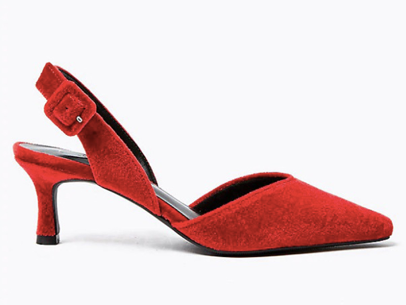 Red velvet slingback, LE545, Marks & Spencer, visit Mall of Egypt