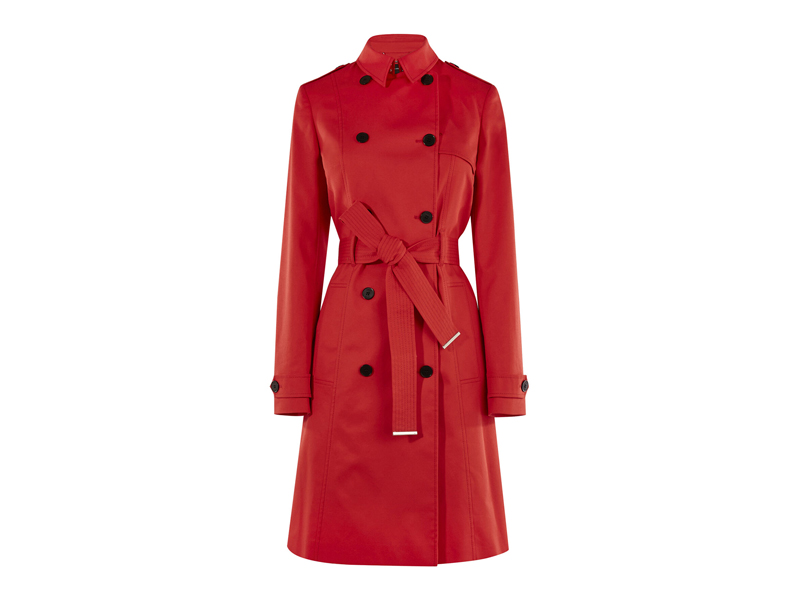Red trench coat from Karen Millen, visit Mall of Egypt