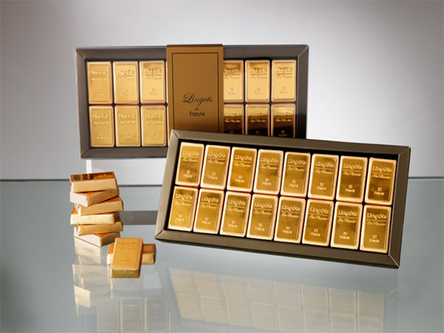 Patchi's gold bar chocolates at Mall of Egypt.