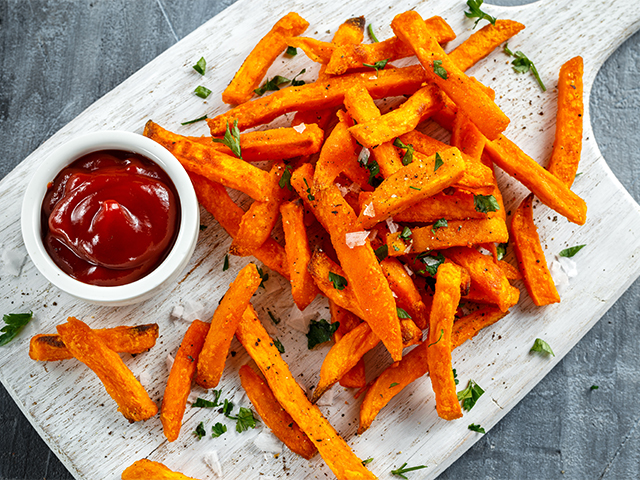 Substitute French-fries with freshly baked sweet potato fries