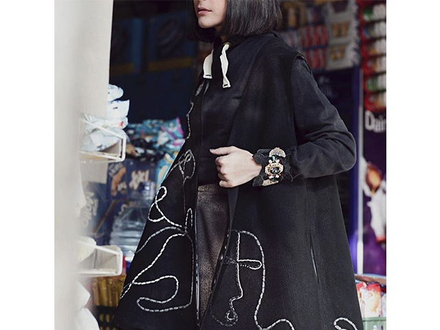 Plum Plus long black embroidery coat is a representation of urban fashion