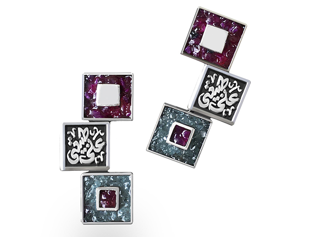Sandbox Jewelry shows off their square shaped silver earrings with semi-precious stones
