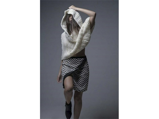 Black and white funky skirts with patterns and triangular designs distinguishes Dean Shaman
