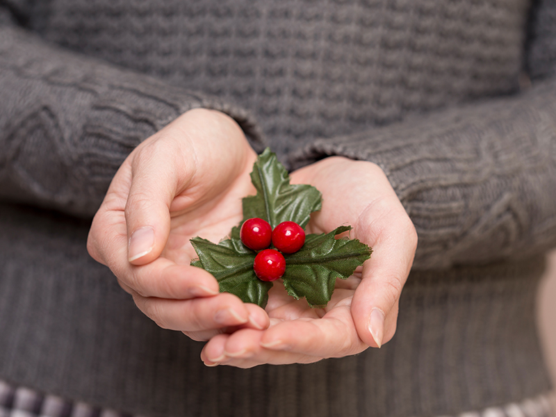 Woman wearing grey sweatshirt holding a red mistletoe in the palm of her hands.