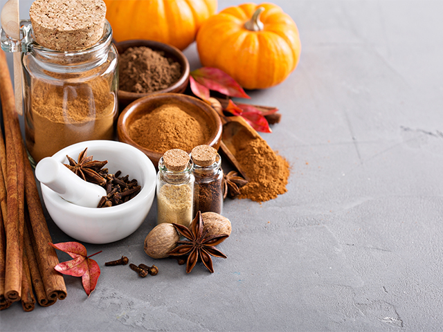 Pumpkin spice ingredients all placed on a marble top kitchen table.