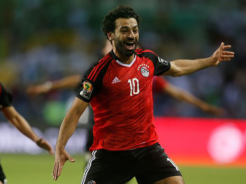 Egyptian footballer Mohamed Salah in action on the field playing for Egypt.